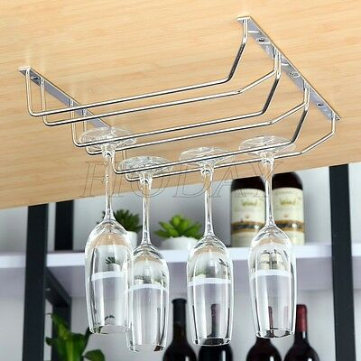 4 Size Wine Glass Rack Holder Mug Hanging Hanger Stainless Steel Shelf Organizer
