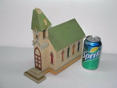Antique Cardboard Putz Style Hand Made Christmas Village Church