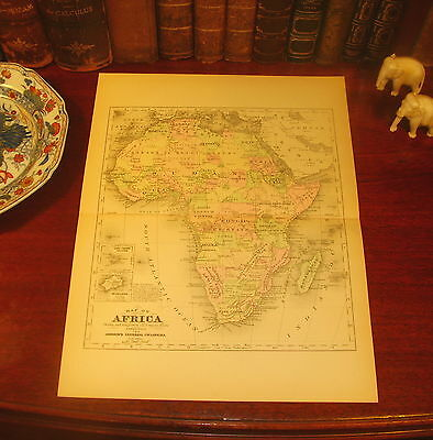 Fine Detailed Original 1892 Antique Johnson Engraved Map AFRICA Morocco Egypt
