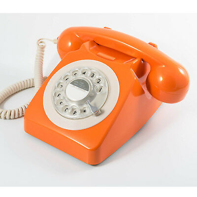 GPO 746 Traditional Rotary Dialling Retro Telephone - Orange **FREE DELIVERY**