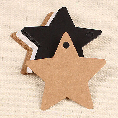 50X Star Kraft Paper Label Wedding Christmas Party Gift Card Price Luggage Tags