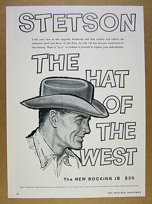 1959 Stetson Cowboy Hats 'The Hat of the West' vintage print Ad