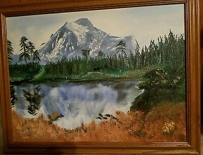 Hand painted oil painting on canvas of Scenery 18 x 24 with Frame 22 x 28