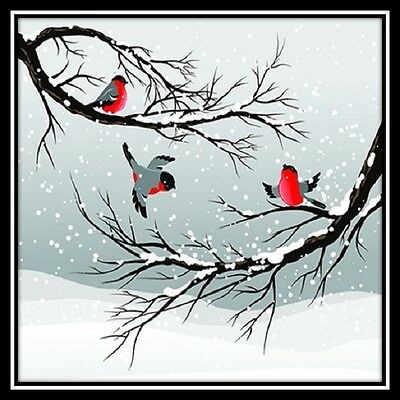 30 Custom Winter Bird Art Personalized Address Labels