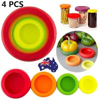4 Pack Multi Size Reusable Fruit Vegetable Storage Silicone Cover M