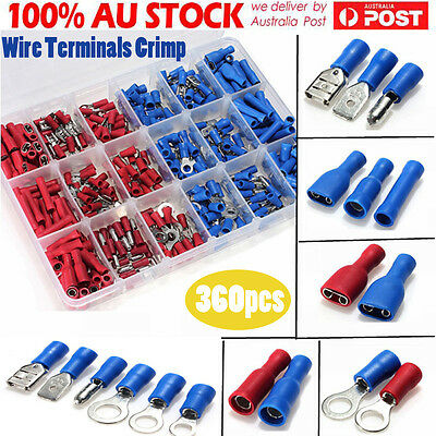 360x Assorted Insulated Electrical Wire Terminal Crimp Connector Spade Set Kit D