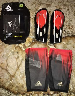"NEW Adult Unisex M ADIDAS Messi10 Pro Soccer Black Red Shinguards Fits 5'3""-5""9"""