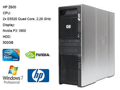 HP Z600 Workstation 8 CORES Xeon E5530 x2  6GB RAM 500G HDD Win7 FX1800