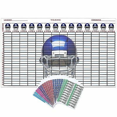 """Fantasy Football Draft Kit 2016 5ft X 3ft Color Board with Large 4"""" Color Labels"""