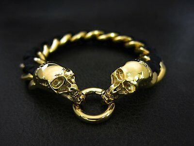 Gold Skull Black Genuine Leather Chain Bracelet for Harley Davidson Biker TB173