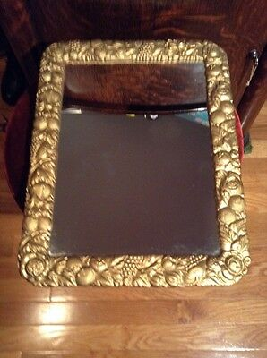 Vintage Mirror Iron Art Co. Cast Iron Filigree Frame Grape Vine  JM 45 MCM