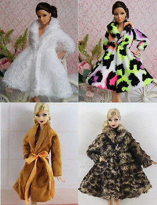 New 4 PCS Fashion Winter fur Coats Clothes/Outfit+4 Boots For Barbie Doll C009U