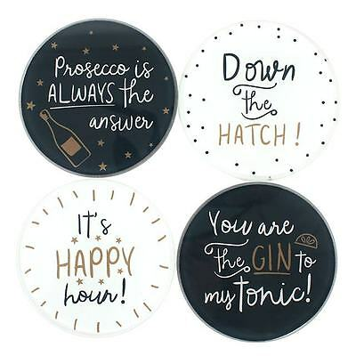 4 Round Modern Monochrome Coasters Wine Gin Happy Hour Messages Gold Black