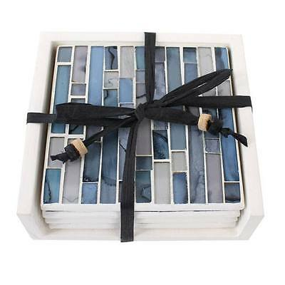 Set Of 4 Blue Grey Striped Mosaic Coasters Ceramic Glass Tiles & Wooden Holder