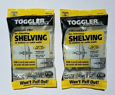 "Toggler Anchors for 3/8"" - 1/2"" Shelving (PACKS OF 7) 5/16"" Drill Size - 2 BAGS"
