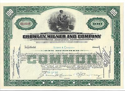 Crowley, Milner And Company......1942 Stock Certificate