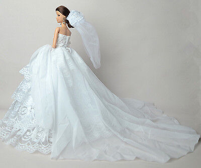 White Fashion Party Dress/Wedding Clothes/Gown+Veil For 11.5in.Doll S601