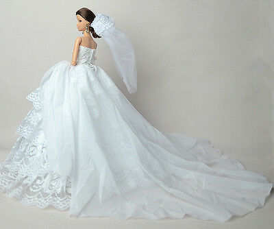 WHITE FASHION PARTY Dress/Wedding Clothes/Gown+Veil For Barbie Doll ...