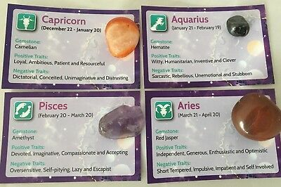 Birth Gemstone.Info Card.Horoscope.Astrology..Zodiac.Crystal..New Baby Gift