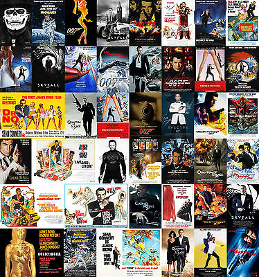 James Bond 007 Movie Poster Prints Borderless Stunning Vibrant Sizes A1 A2 A3 A4