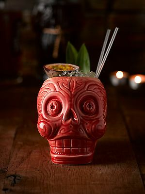 Day of the Dead Red Sugar Skull Cocktail Mug Ceramic Drink Mexican Cup Gift