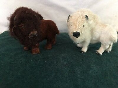Lot Of 2 Wild Buffalo Figurines With Real Fur White Brown