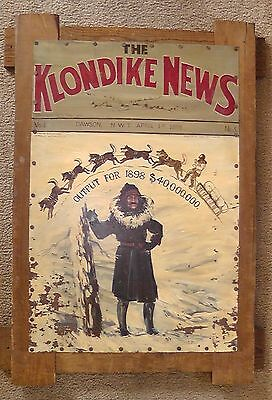 "Vintage ""The Kondike News"" San Fran April 1st 1898 Painted Metal Wood Frame 36"""