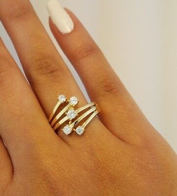 14K Solid Yellow Gold Fancy Fashion Cocktail Ring 0.50 Ct Round Cut Diamond