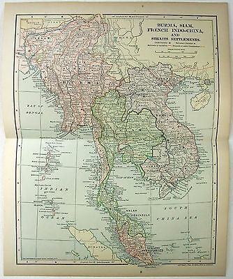 Original 1903 Map of Southeast Asia - Burma Siam French Indochina & Malaya