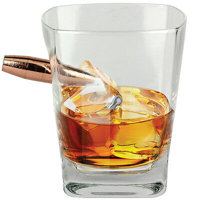 NEW Last Man Standing Whiskey Glass w/ Faux 50 Caliber Bullet Embedded In Wall
