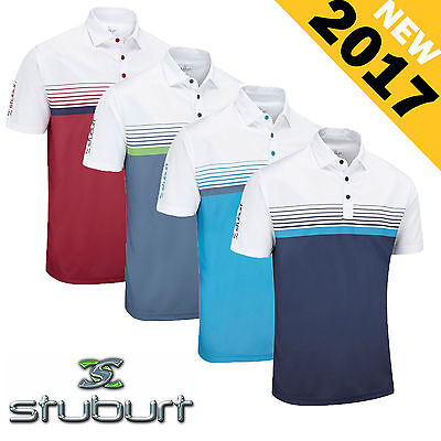 New 2017 STUBURT Mens Hydro Sport Block Dri Back  Performance Polo Shirt