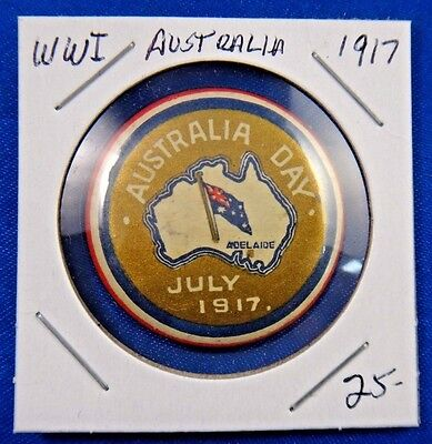 Original Vintage WWI WW1 Australia Day 1917 Pin Pinback Button