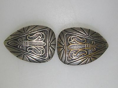 Pair Of Antique Art Deco Silver Wash Over Brass Button Covers!