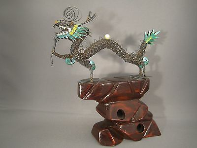 Vintage Antique Chinese Asian Silver And Enamel Dragon On Wood Stand