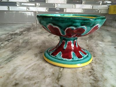 Vintage  Italian Hand Painted Chamber Candlestick Holder With Handle
