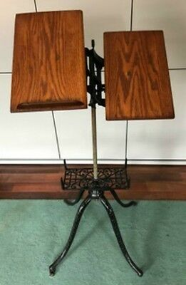 Antiques Victorian Cast Iron and Oak Adjustable Book Stand - Bible, Dictionary