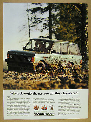 1987 Range Rover Classic driving in mud color photo vintage print Ad