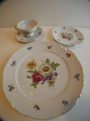 MITTEREICH Bavaria (Germany) Meissen Floral China 4 Piece Place Setting