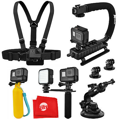 Accessory Bundle for GoPro HERO5 Black / Session 4K Action Camera w/ X-Grip Stab