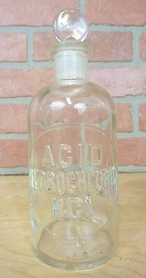 Old Embossed Apothecary Drug Store ACID HYDROCLORIC HCI Poison Bottle w Stopper