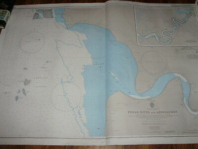 Vintage Nautical Map Perak River and Approaches