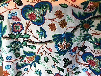 Beautiful Antique Linen Crewel Work Embroidered Panel Floral Crewel Design