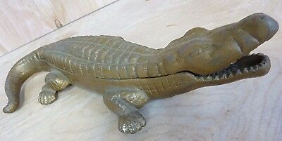 Old Brass Alligator Large Decorative Art Figural Match and Cigarette Holder