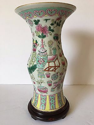 Chinese Antique 19Th Century Large Porcelain Famille Verte Vase & Wooden Stand