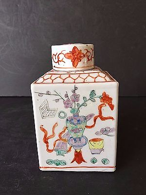 Chinese Antique 20Th Century Porcelain Famille Verte Tea Caddy Chinese Marked