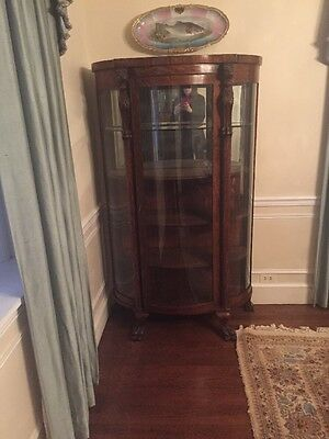 Antique Mahogany China Cabinet With Lion Heads