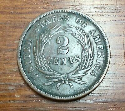 1864 'Large Motto' Two Cent - Grade: Fine