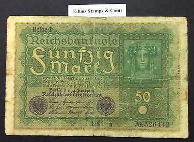 1919 50 Marks Banknote Germany circulated condition - 520442