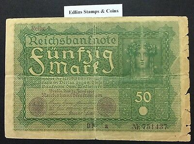 1919 50 Marks Banknote Germany circulated condition - 751437