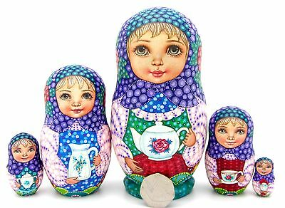 Genuine Russian Dolls 5 Girls SOKIRKINA HAND PAINTED MATT Tea Drinking BABUSHKA